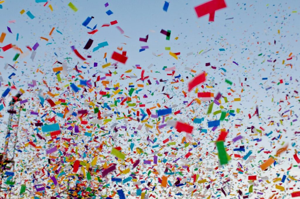 Balloons and confetti released in to the air