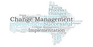 Graphic of an arrow made up of words describing Change Management