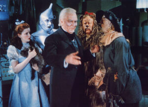 Wizard of oz with the tin man, scarecrow, dorothy and the lion