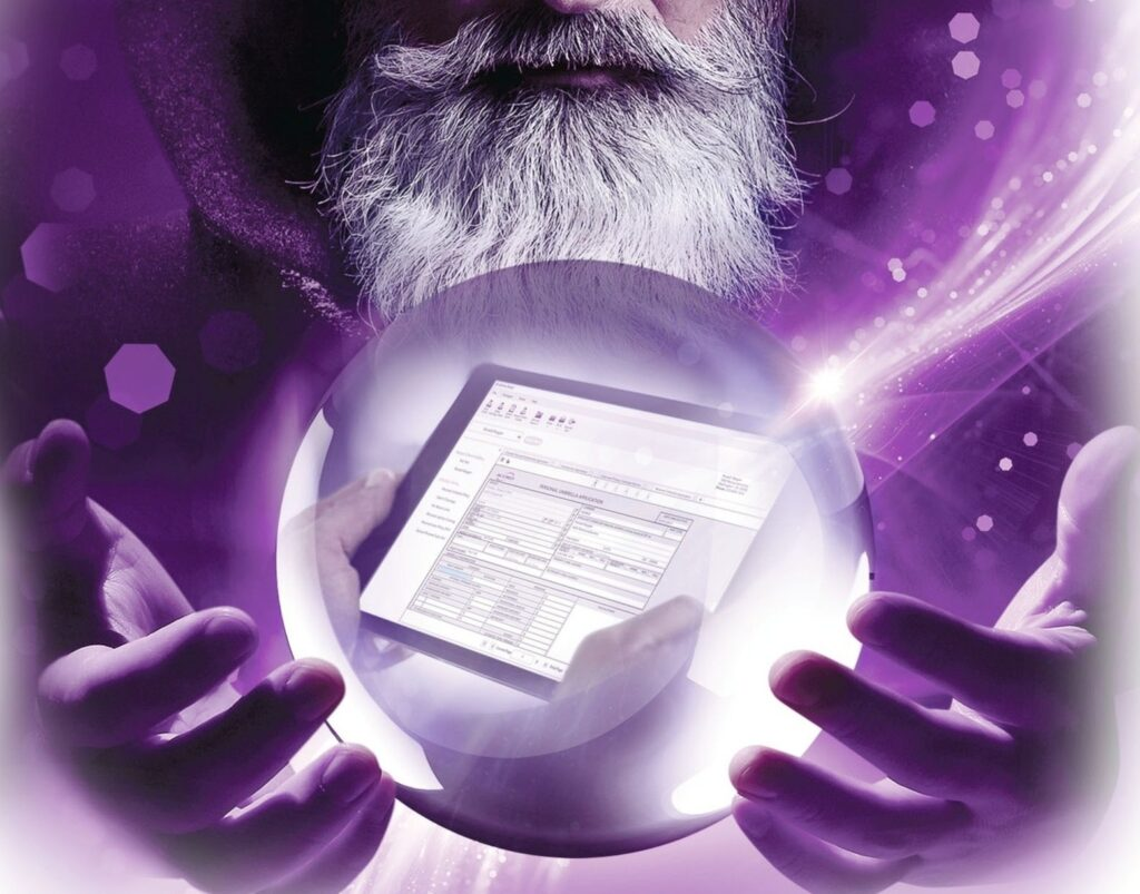 wizard holding crystal ball