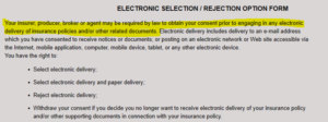 Electronic Selection/Rejection Option Form image