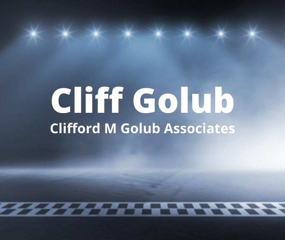 Cliff Golub intro slide with spotlights and finish line