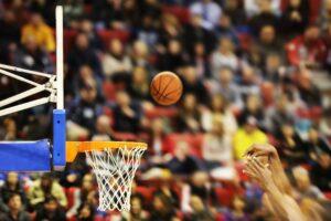 Basketball being shot