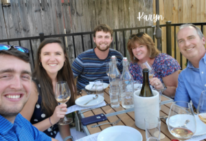 Photo of Karyn Buckley and family at a restaurant
