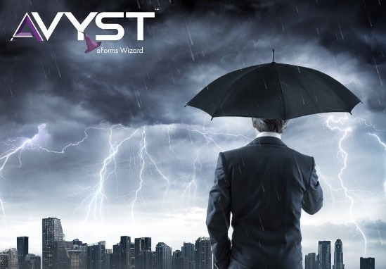 photo of man with umbrella in a lightning storm with AVYST logo in corner