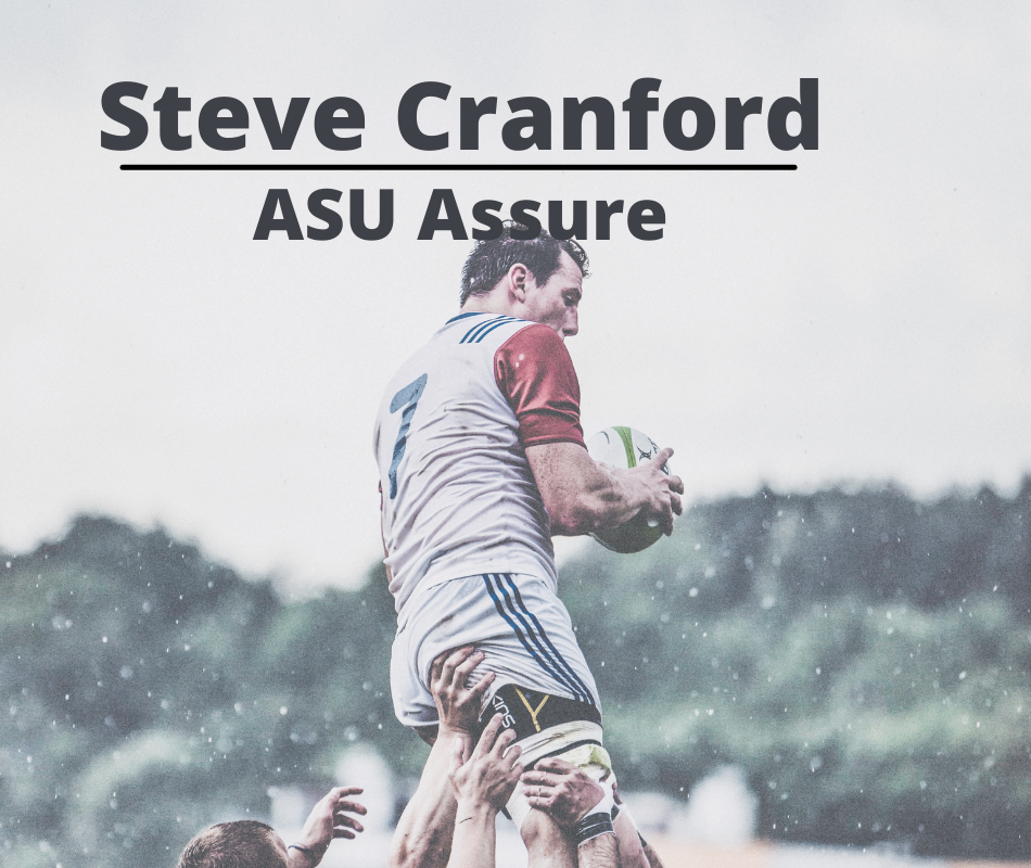 Steve Cranford title page with picture of rugby player being carried off by team
