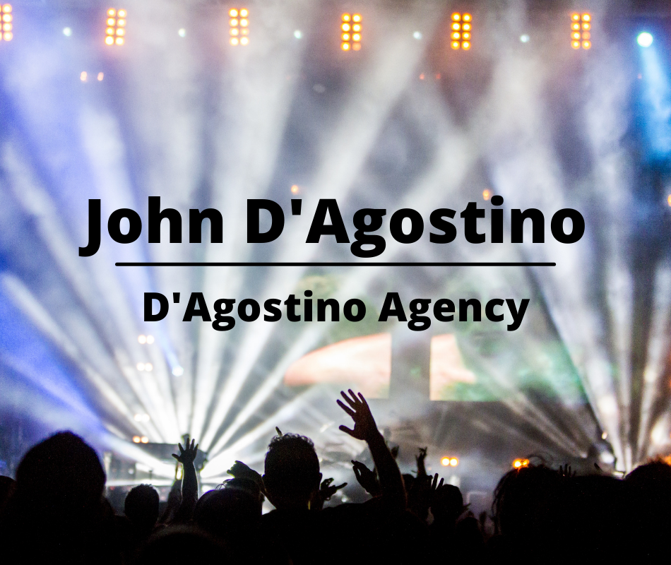 Image of concert and spotlights with John D'Agostino of D'Agostino Agency wording