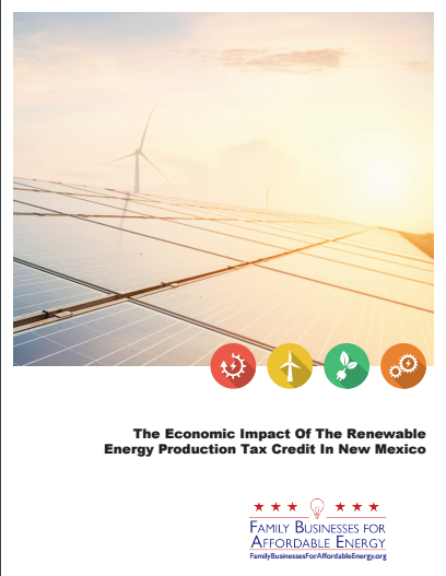 NEW MEXICO'S WIND/SOLAR TAX CREDIT WORKS NEW STUDY FINDS 11,700 NEW JOBS, $1.6 BILLION CREATED