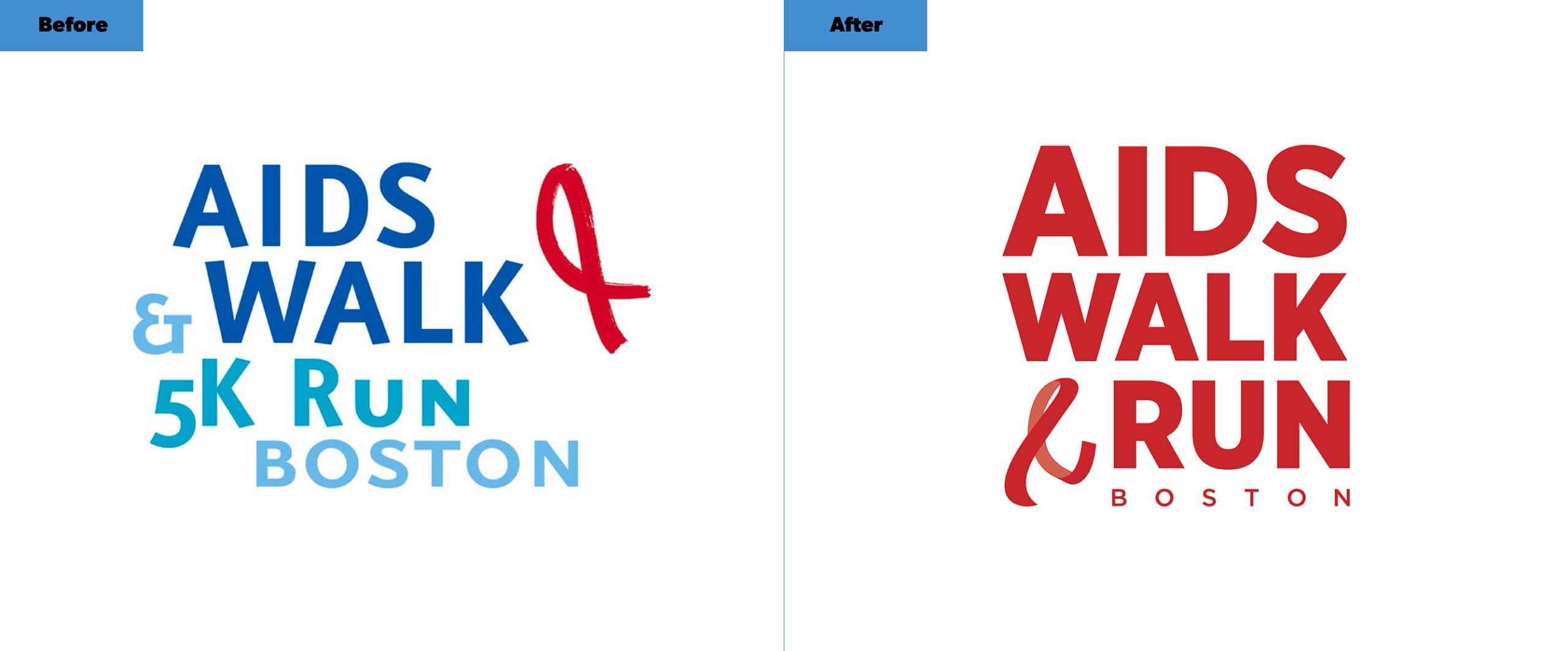 AIDS Walk Boston Logos Before and After