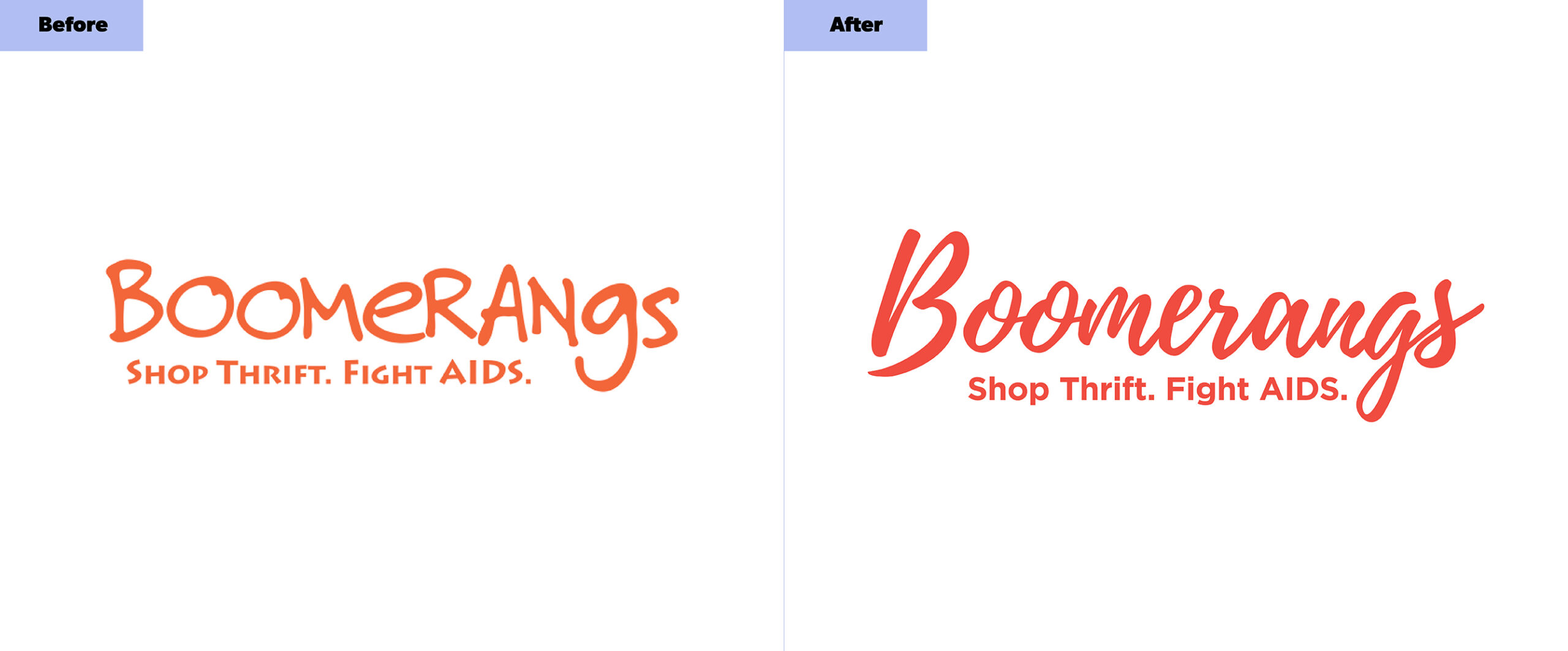 Boomerangs Logos Before and After