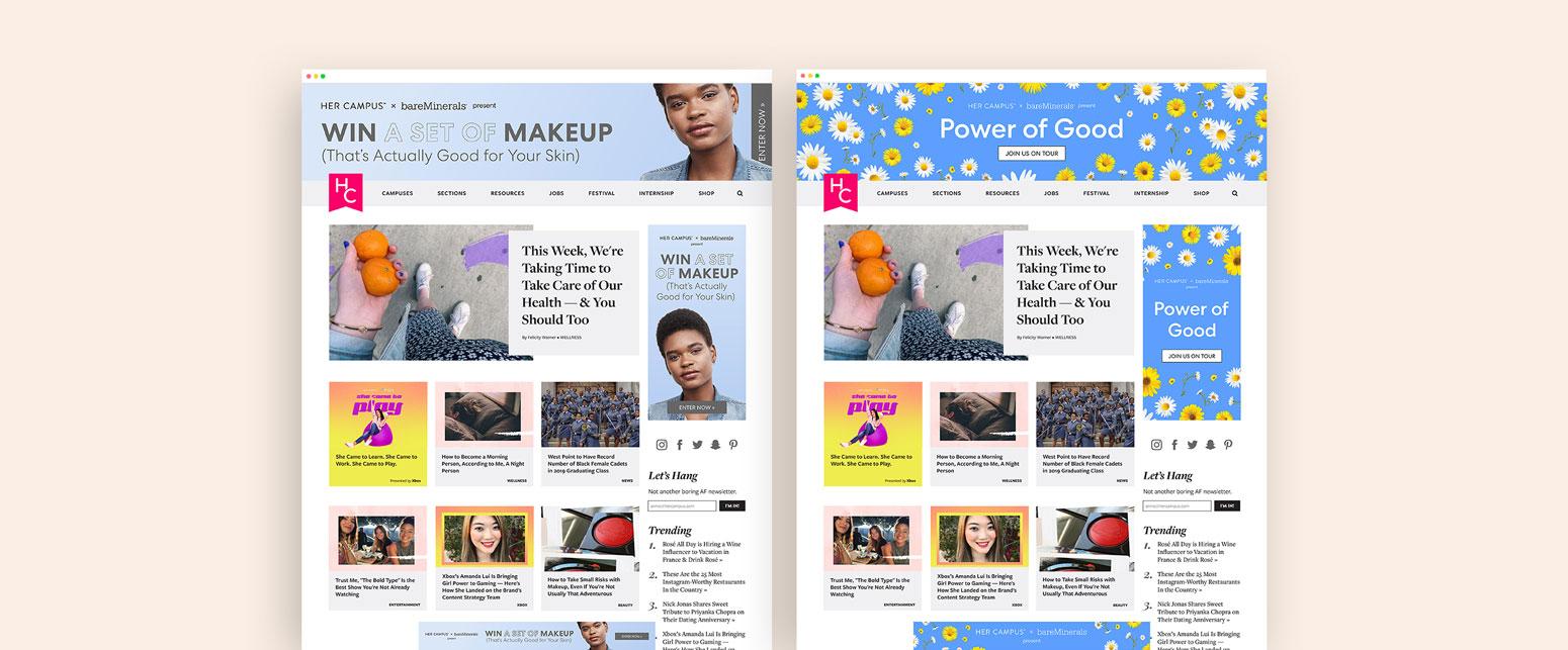 Her Campus x BareMinerals Homepage Advertising
