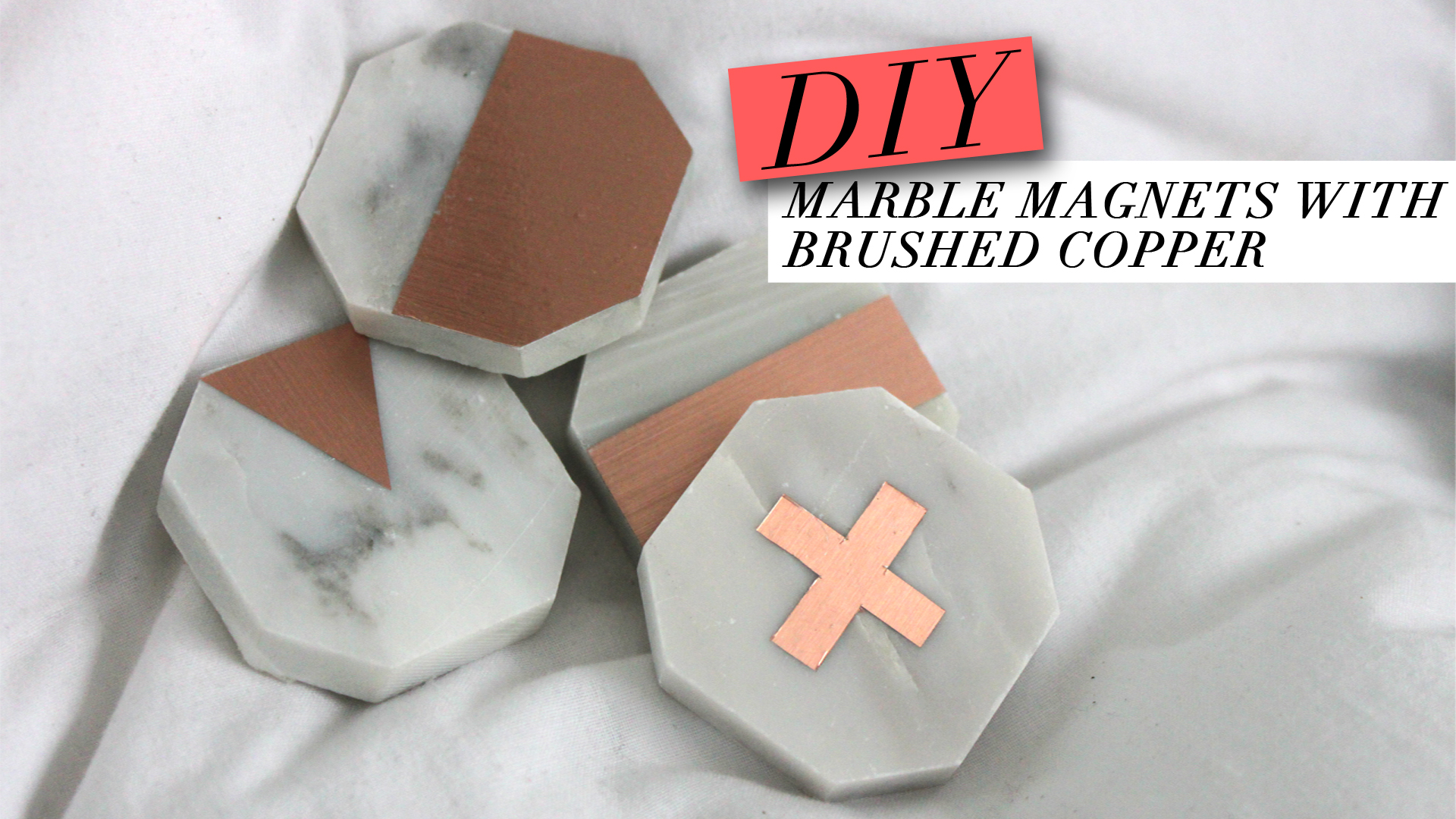 DIY LUXE MARBLE TILE WITH COPPER ACCENTS MAGNETS