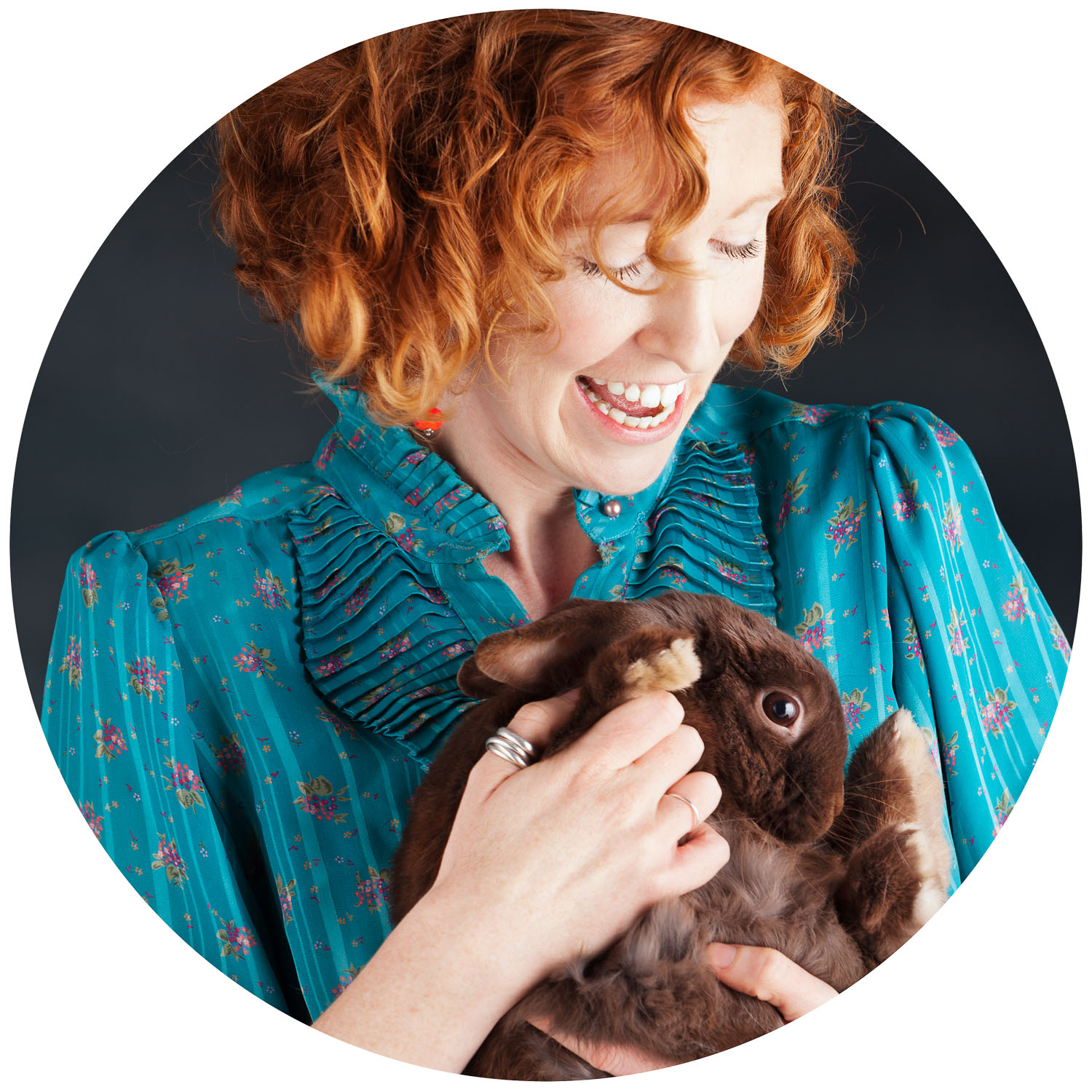 Angie Connell and her rabbit
