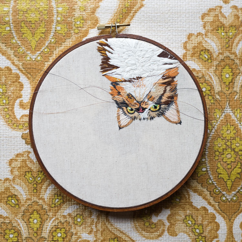 embroidered pet portrait