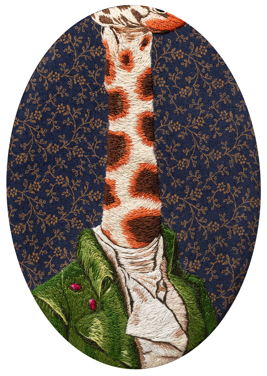 fine art print of an embroidered giraffe