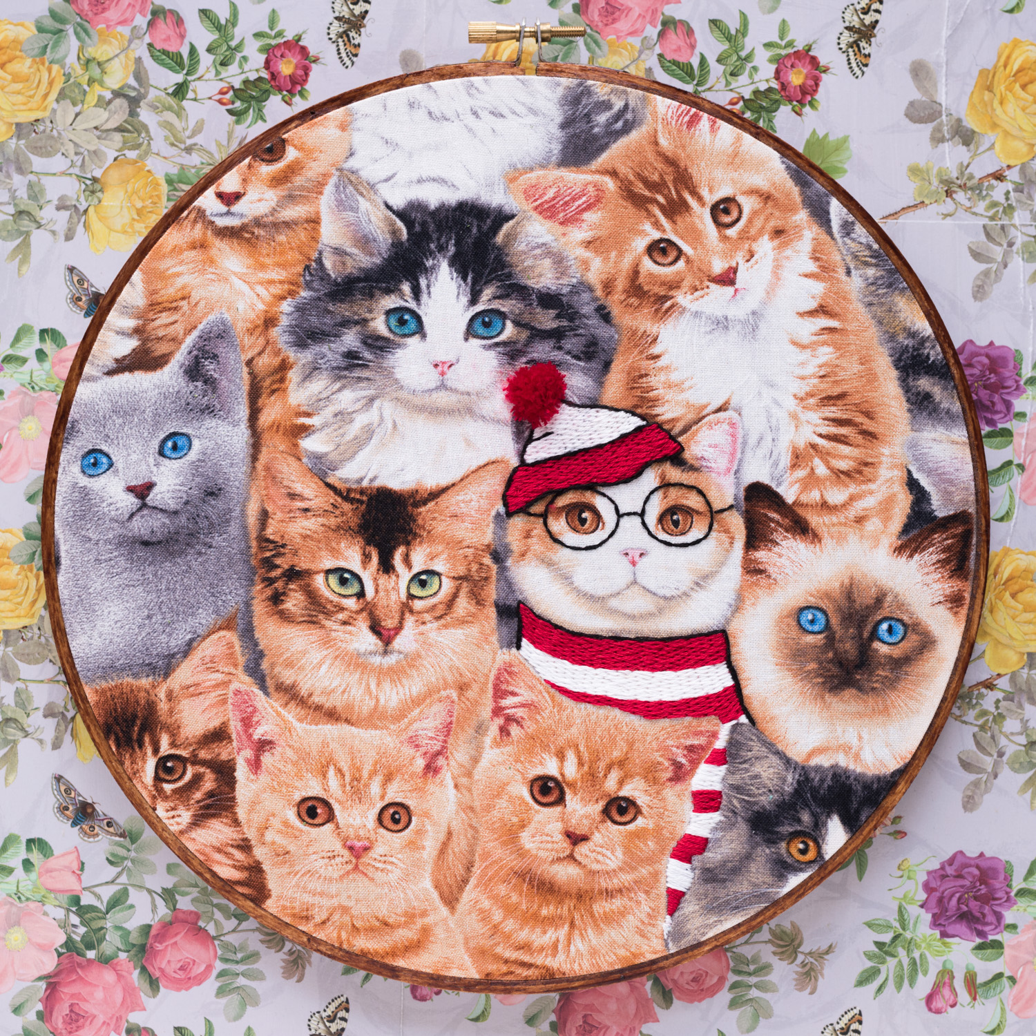 Cat embroidered as wheres wally
