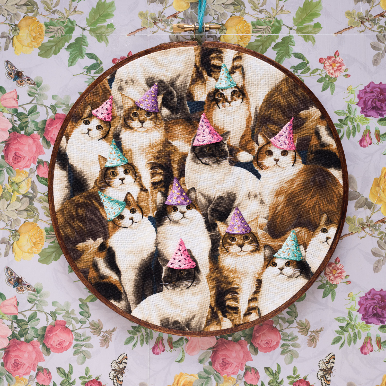 Cats with party hats on