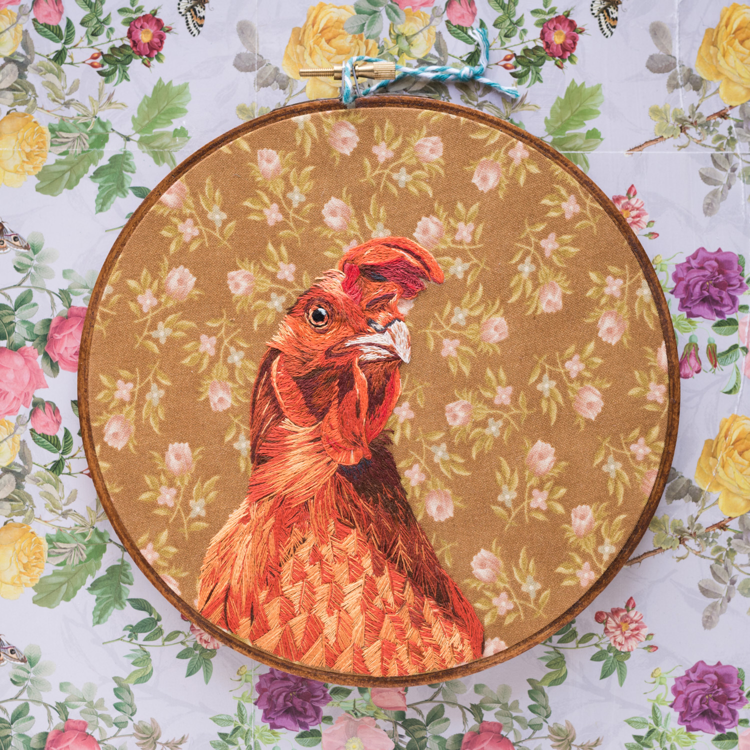 Embroidered Chicken on Foral Fabric