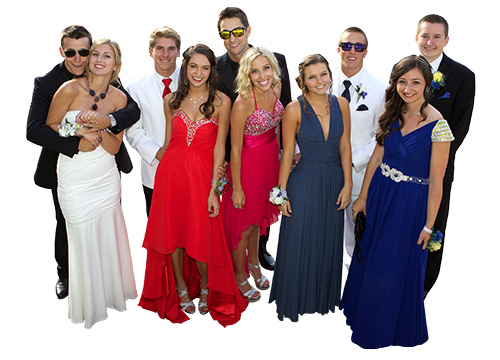 Group of Prom teens