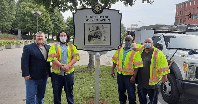 Installing the Gerst House Nashville Historical Marker