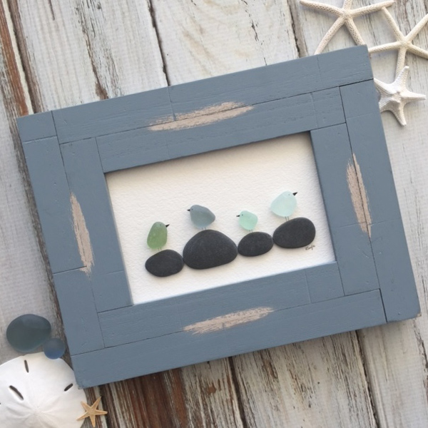 flock of birds in a rustic frame