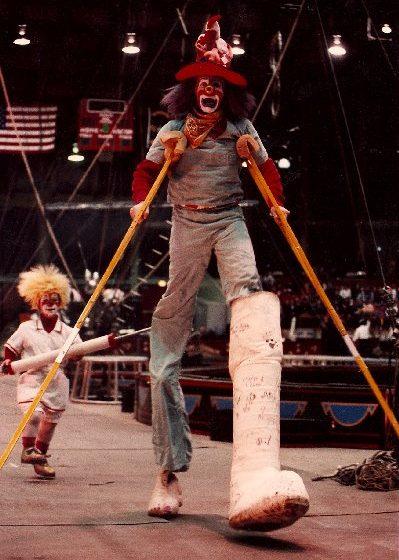 Mike Weakley as Hillbilly the clown - stilt walker for Ringling Bros. Circus