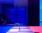 Award winning image and award winning architecture, a view from a highly designed kitchen in to a shower...