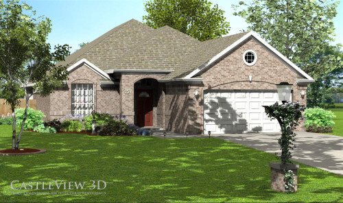 3D Rendering: Landscaped exterior - daytime view