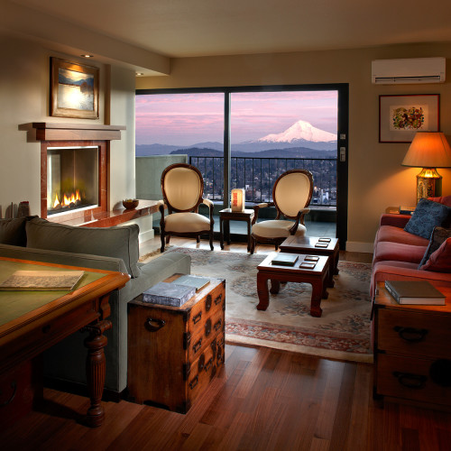 A great view of Oregon\'s iconic Mt. Hood from a very warm and inviting condo living room