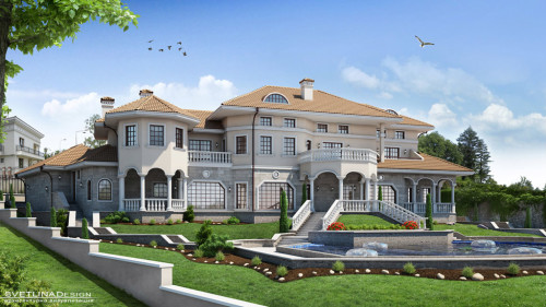 3D Architectural Visualization of a seaside villa.