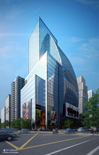 Commercial building 3d architectural visualization