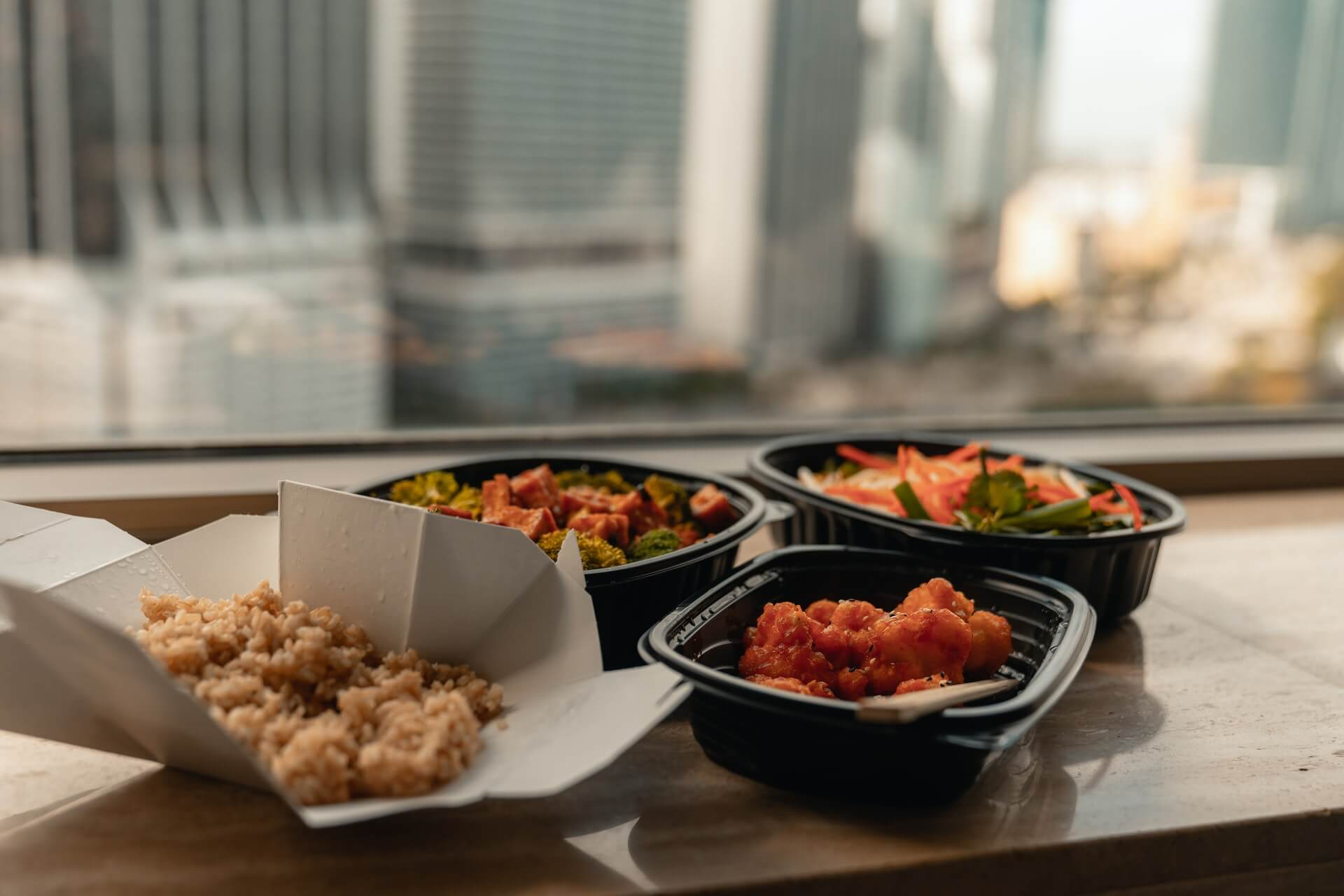 Take out food on table after premises liability accident