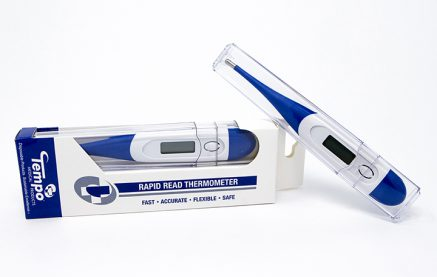 This is a photograph of our digital thermometers. Can be single use or cleaned for multiple uses.