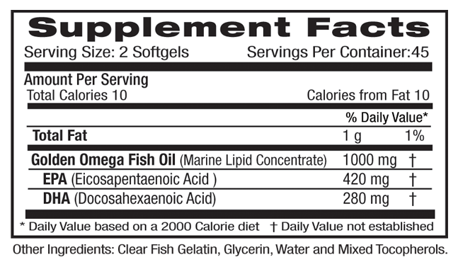 Rainforest Ultra Omega Gold Supp Facts