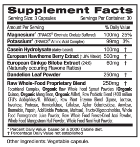 Ultra Botanicals Blood Pressure Supp Facts
