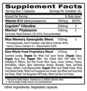Ultra Botanicals Memory Health Supp Facts