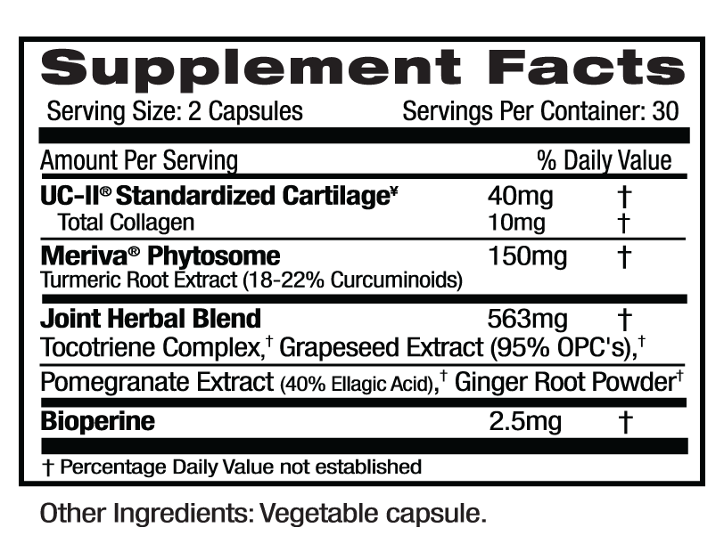 Ultra Botanicals UC-II Joint Supp Facts