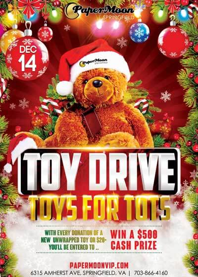 Second Annual Toys For Tots Fundraiser and Charity Party at PaperMoon Springfield