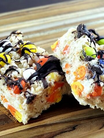 Candy Corn and M&M Rice Krispie Treats