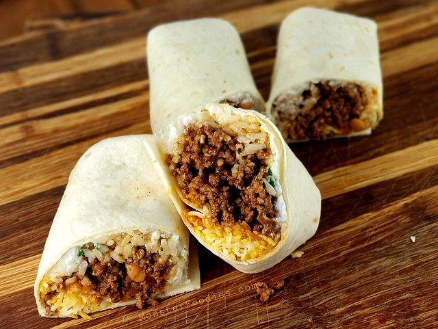 Beef, Rice, and Bean Burritos