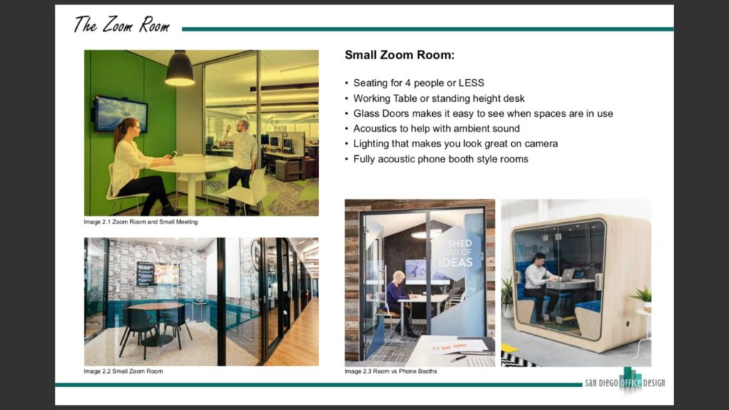 Picture of three small rooms or pods with people working in them.
