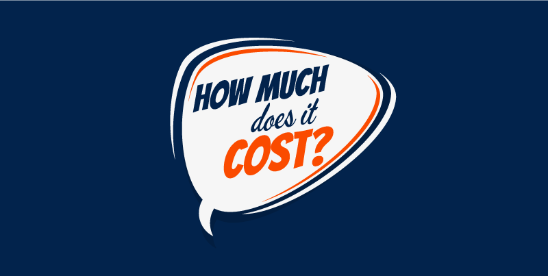 """A speech bubble on a blue background that reads, """"How much does it cost?"""""""
