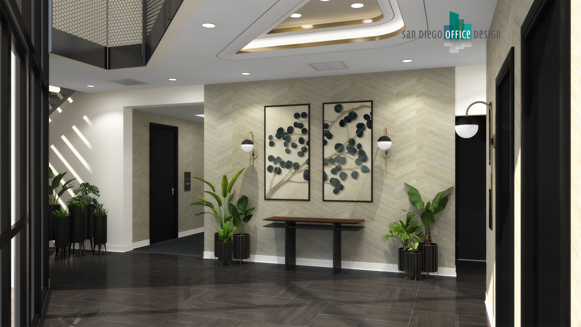 A lobby with potted plants, dark wood floors, and a patterned cream-colored wall.