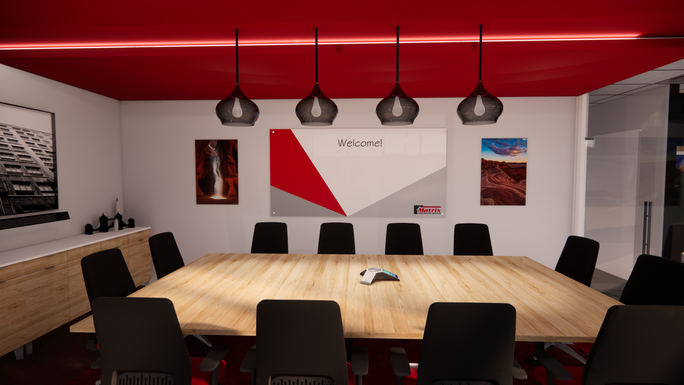 Conference Room with red accent colors and dropped ceiling