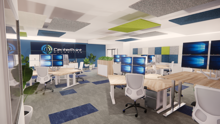 workspace open layout acoustical solutions collaborative team back to the office design interior design san diego office multiple screens solution