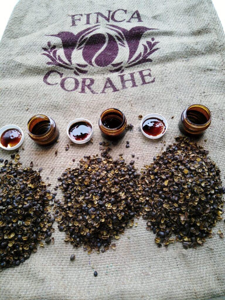 Productos derivados de la cáscara del café.