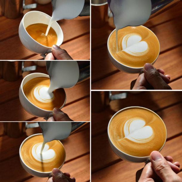 Cómo hacer un corazón. Arte Latte. Figuras.