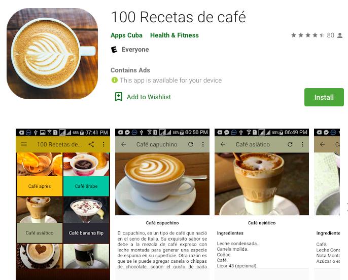 100 recetas de café App