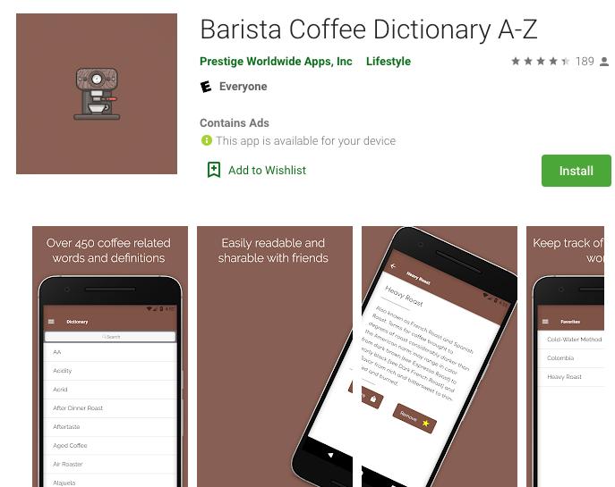 Barista Coffee Dictionary App