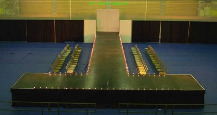 36' runway with 32' T and stage